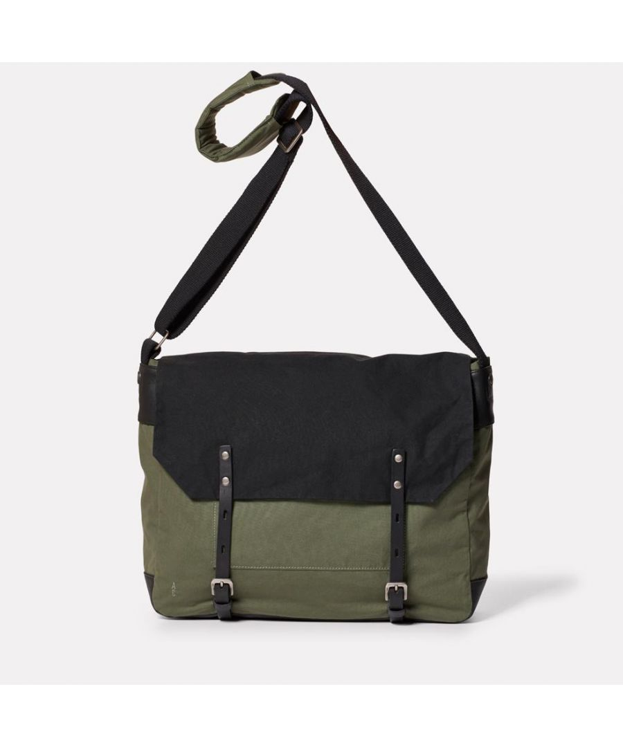 Image for Jeremy Waxed Cotton Satchel in Black and Olive