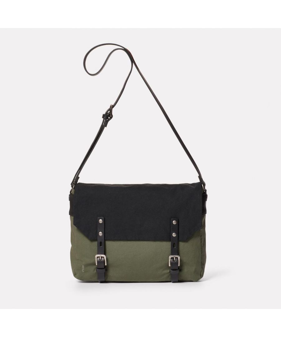 Image for Jeremy Small Waxed Cotton Satchel in Black and Olive