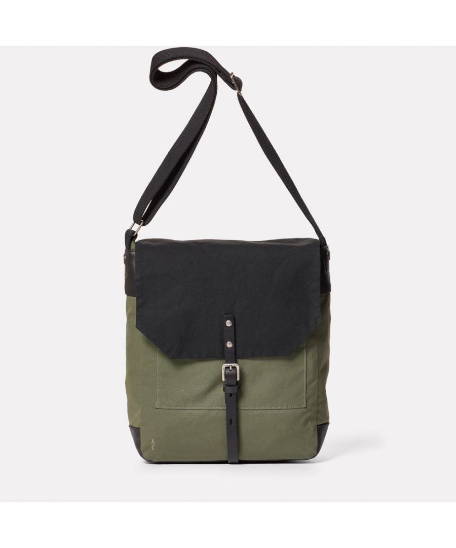 Image for Jonny Waxed Cotton Satchel in Black and Olive