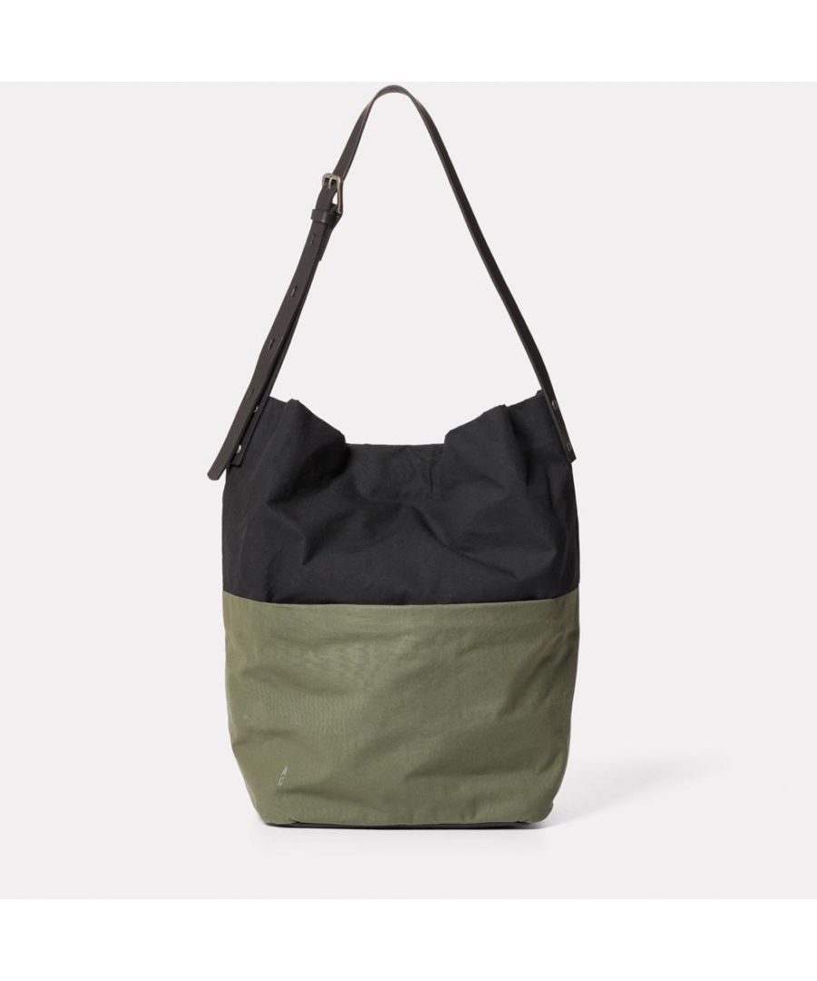 Image for Lloyd Waxed Cotton Bucket Bag in Black and Olive