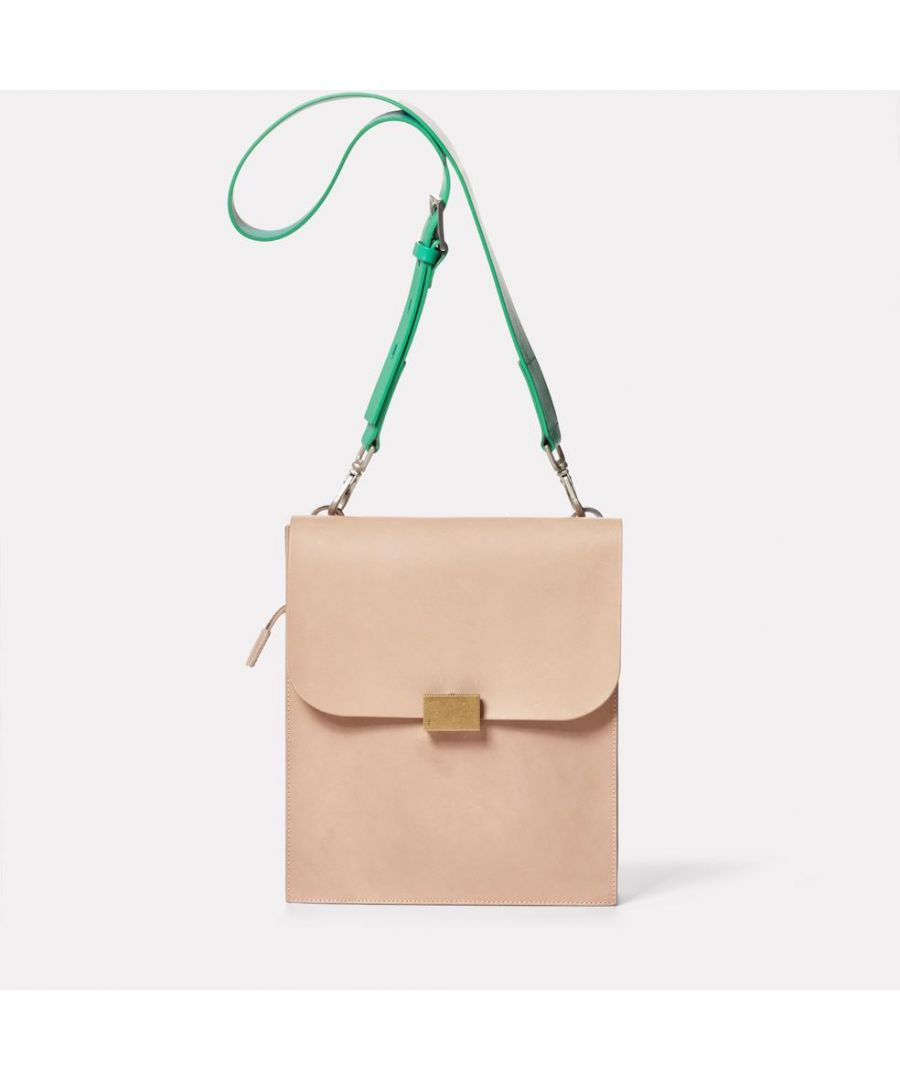 Image for Lori Boundary Leather Crossbody Lock Bag in Taupe