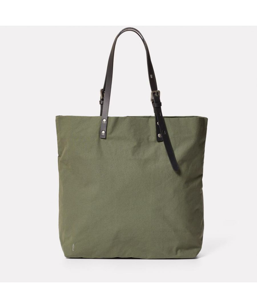 Image for Natalie Waxed Cotton Tote in Olive