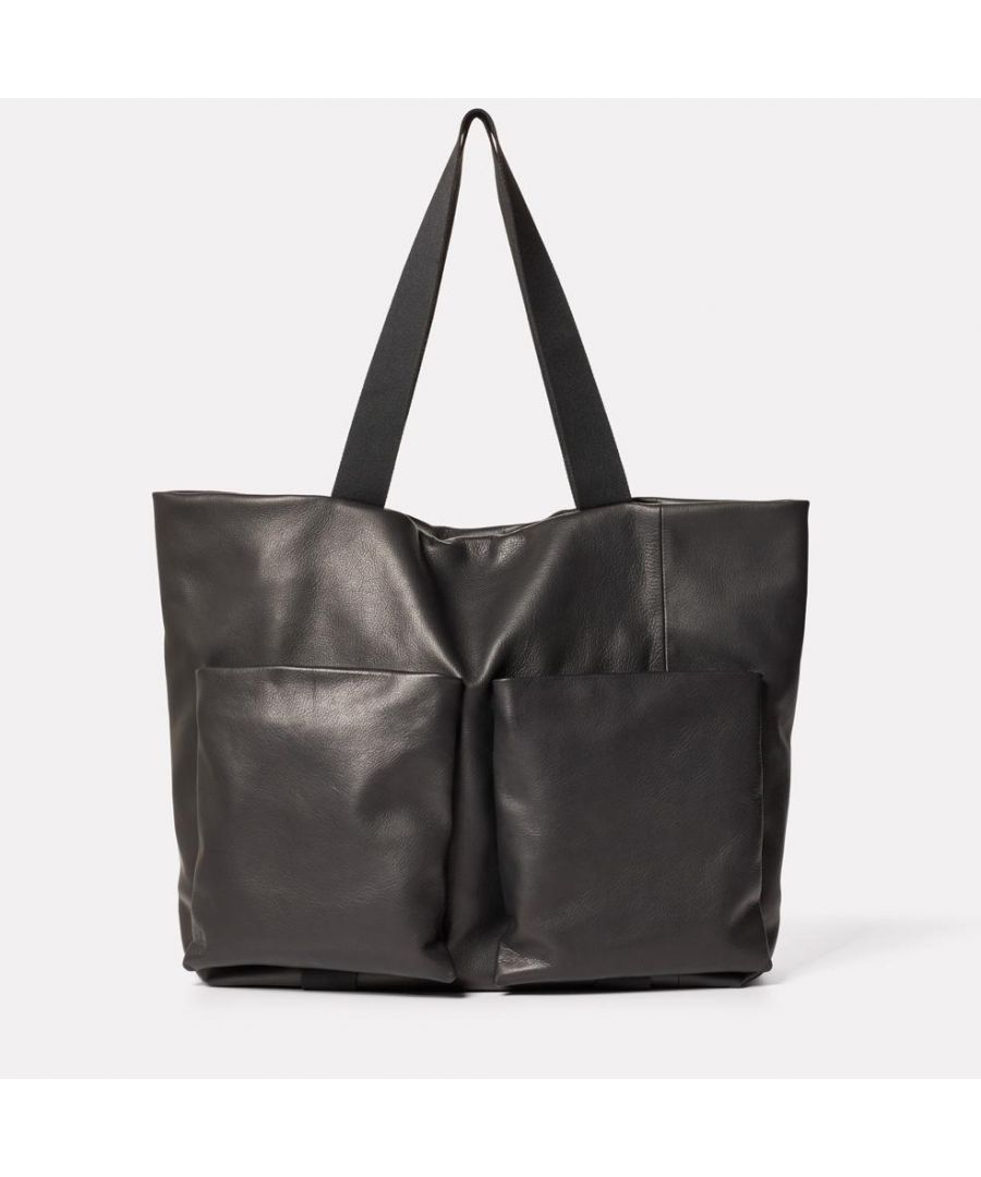 Image for Toto Camlet Leather Tote Bag in Black