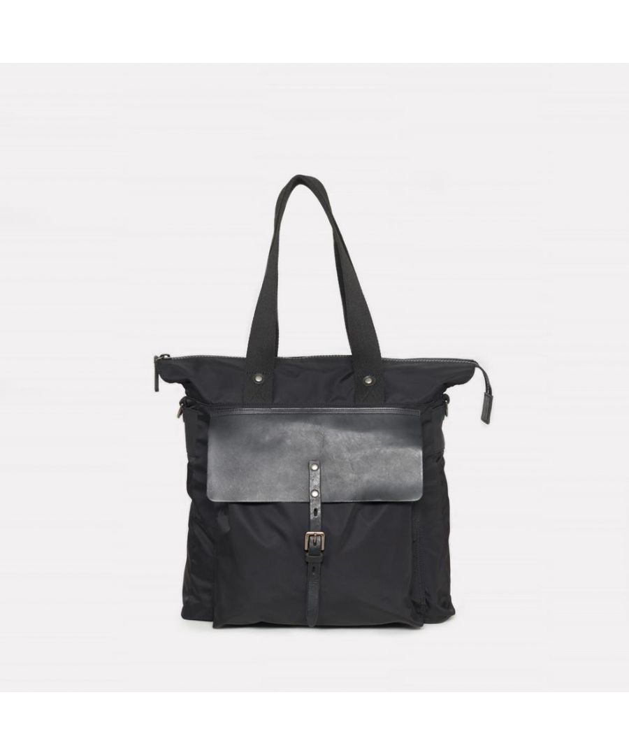 Image for iAgo Luxe Nylon Tote In Black With Black Leather