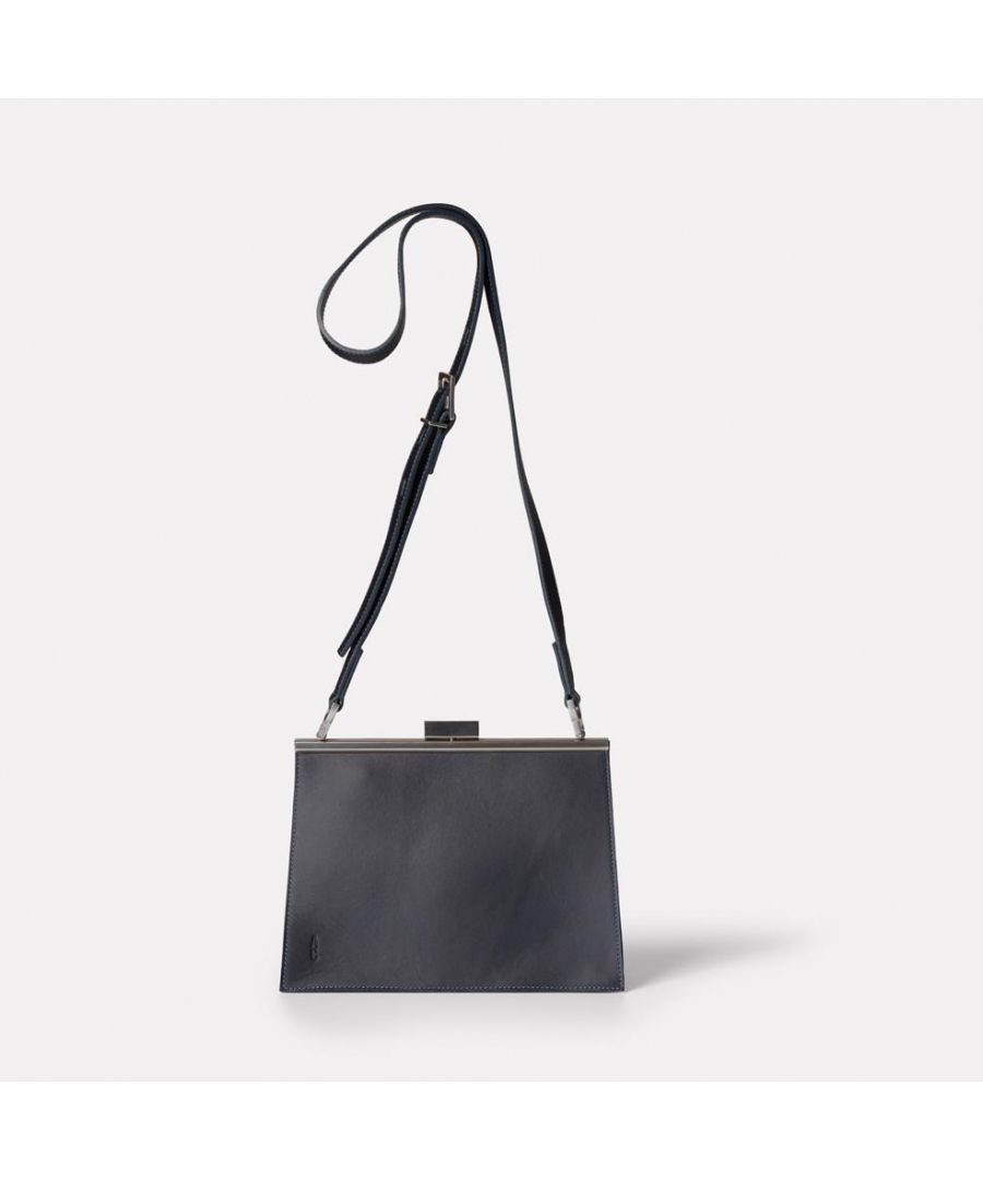 Image for Branca Leather Crossbody Frame Bag In Navy