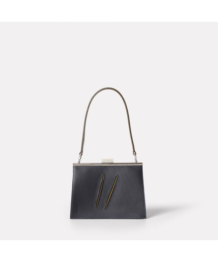 Image for Branca Slash Leather Frame Bag In Navy/Olive