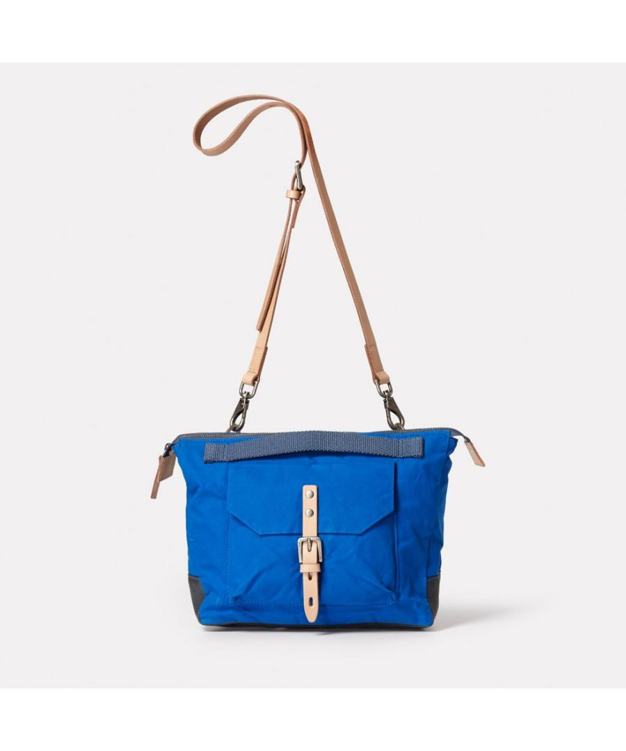 Image for Francesca Waxed Cotton Crossbody Bag in cobalt
