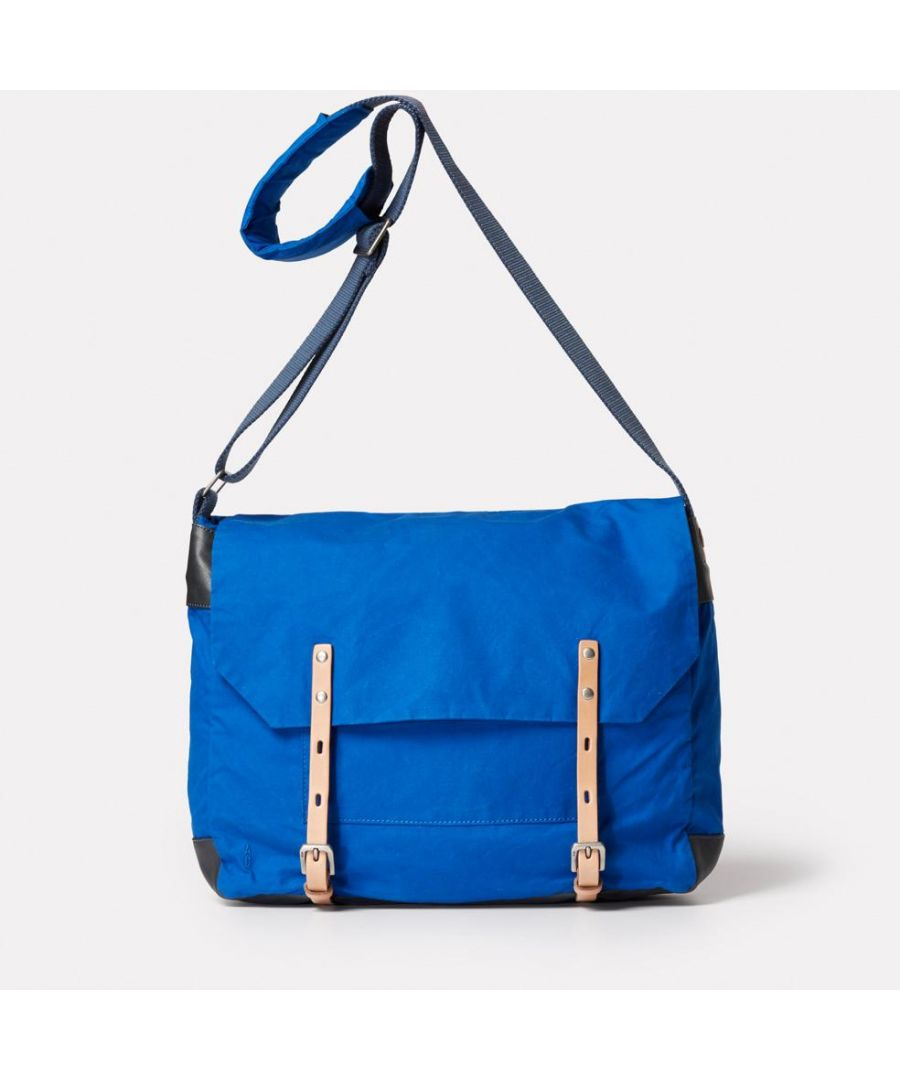 Image for Jeremy Waxed Cotton Satchel in Cobalt