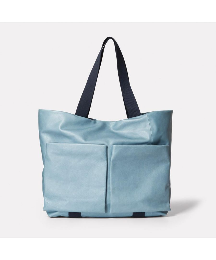 Image for Toto Camlet Leather Tote Bag in Denim