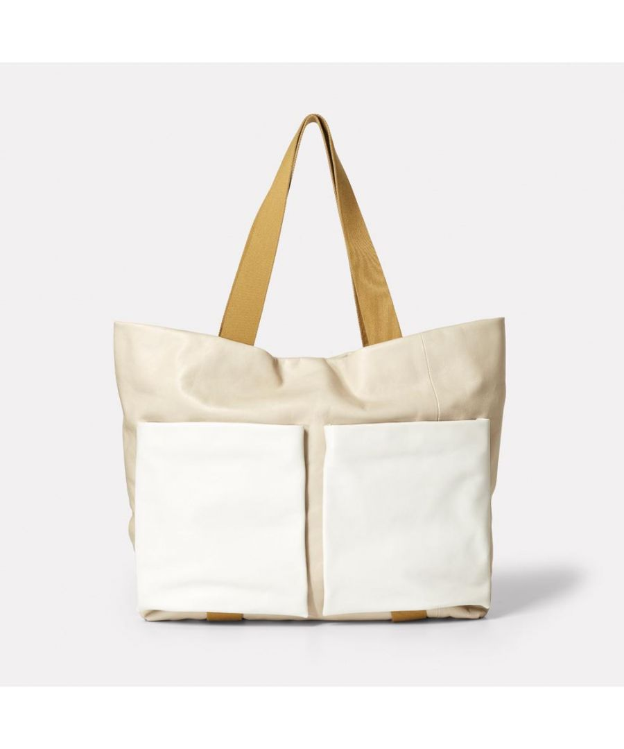 Image for Toto Camlet Leather Tote Bag in Stone