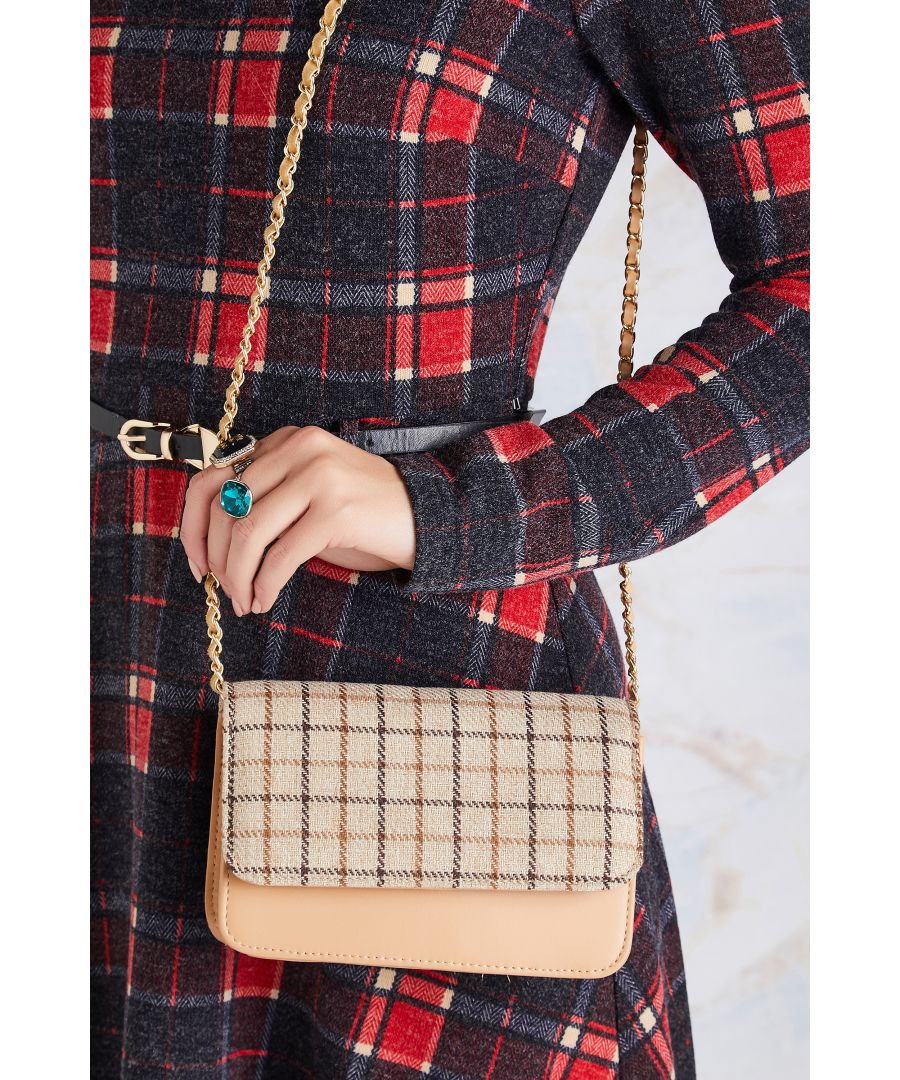 Image for Check Shoulder Bag With Chain Strap.