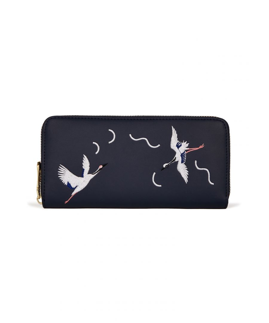 Image for EMBROIDERED CRANE WALLET
