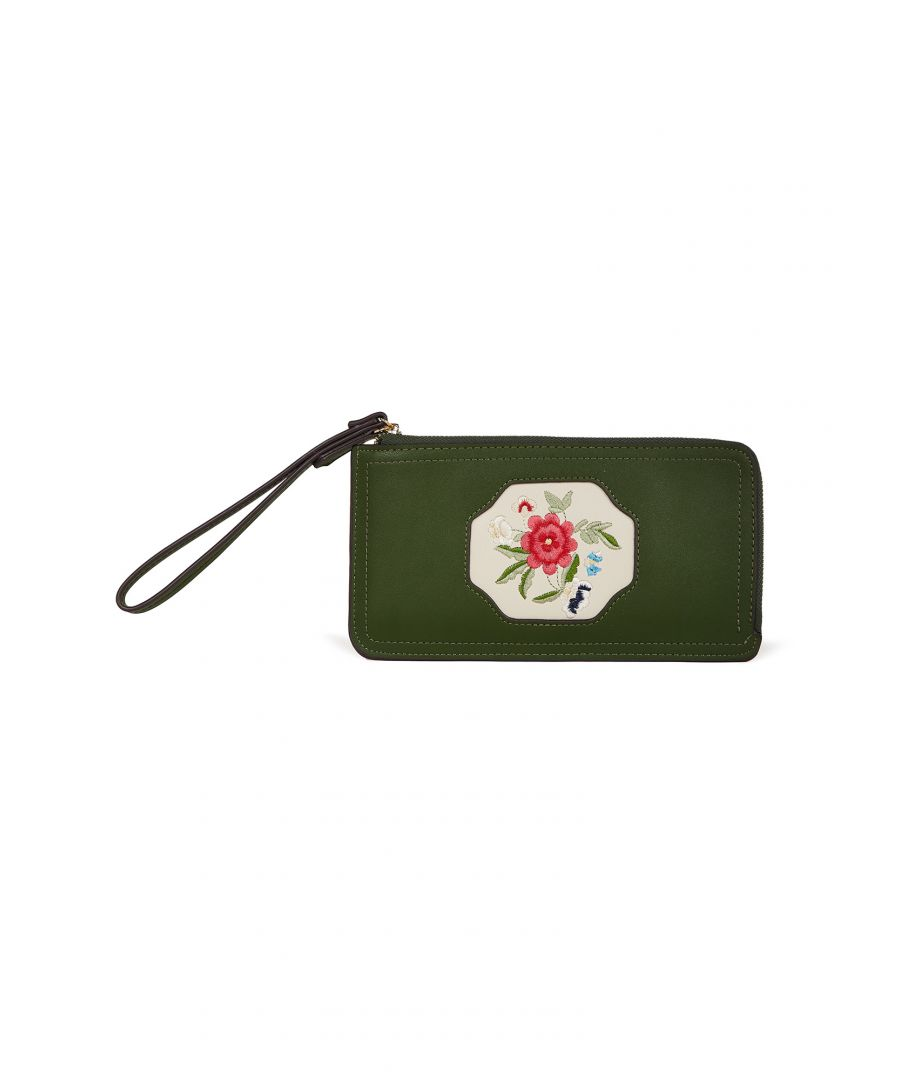 Image for Green Oriental Embroidered Flower Wallet