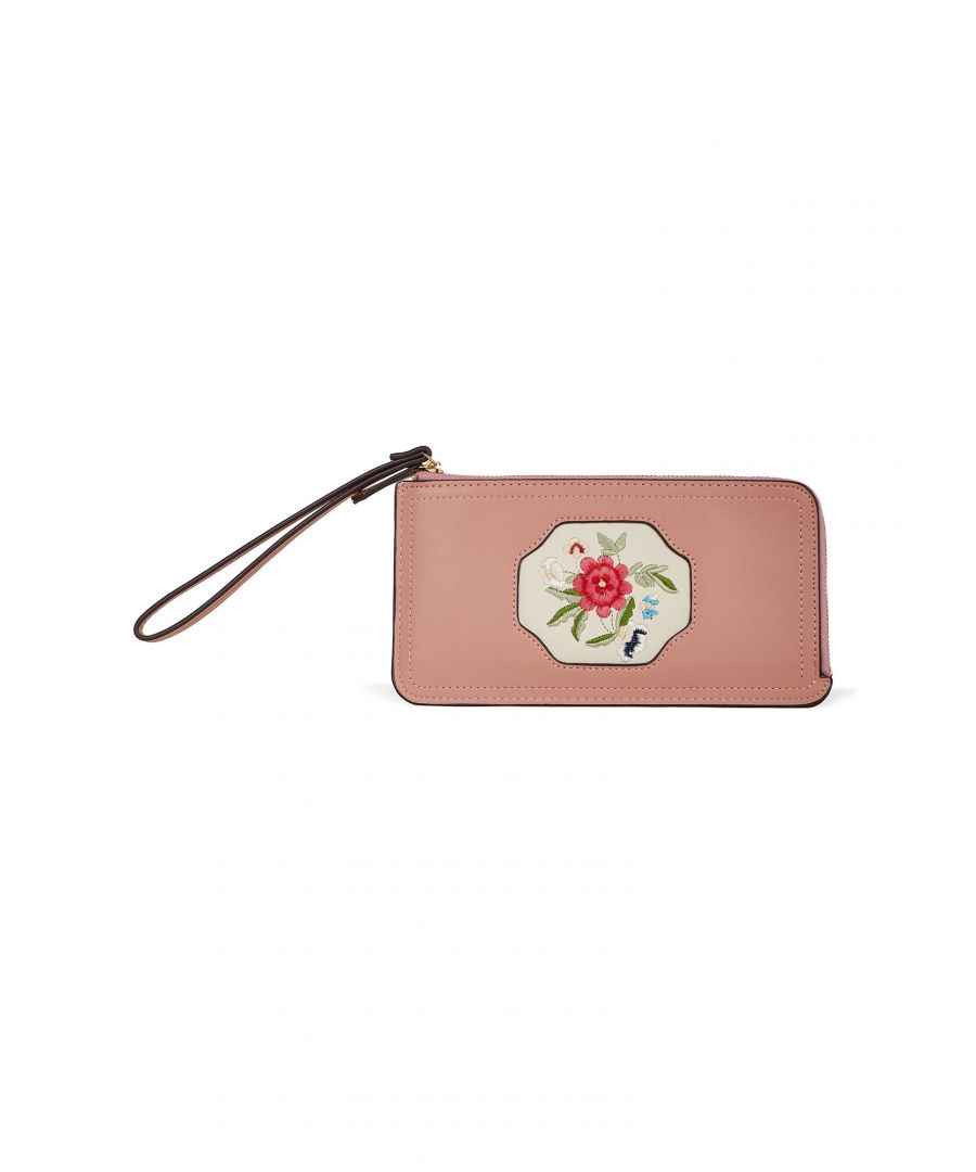 Image for Pink Oriental Embroidered Flower Wallet