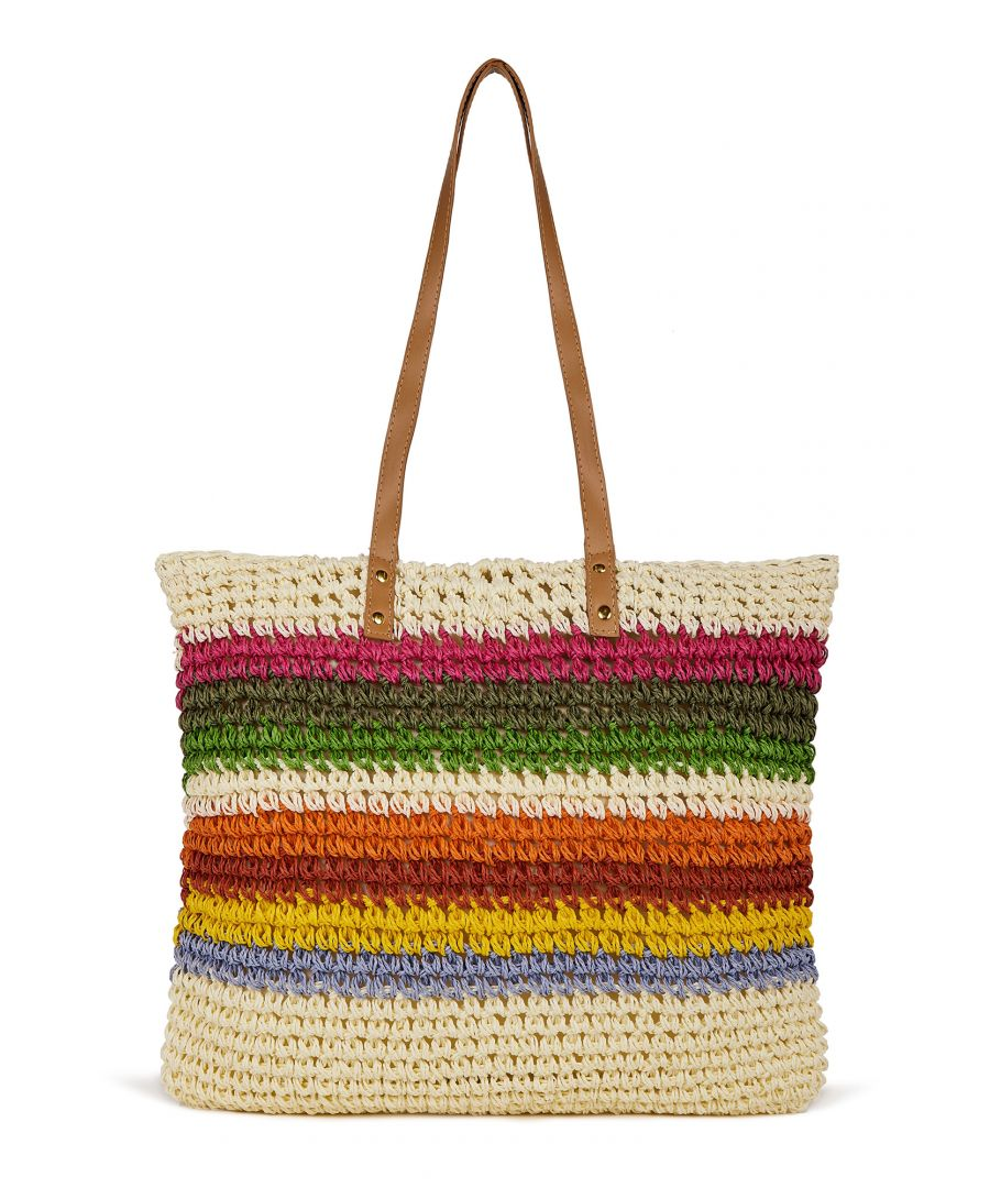 Image for Handmade Straw Rainbow Stripe Beach Bag
