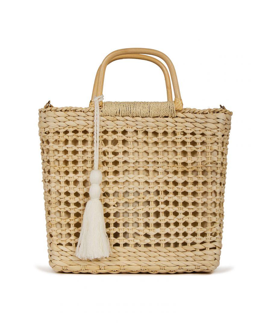 Image for Handmade Straw Tassel Summer Bag