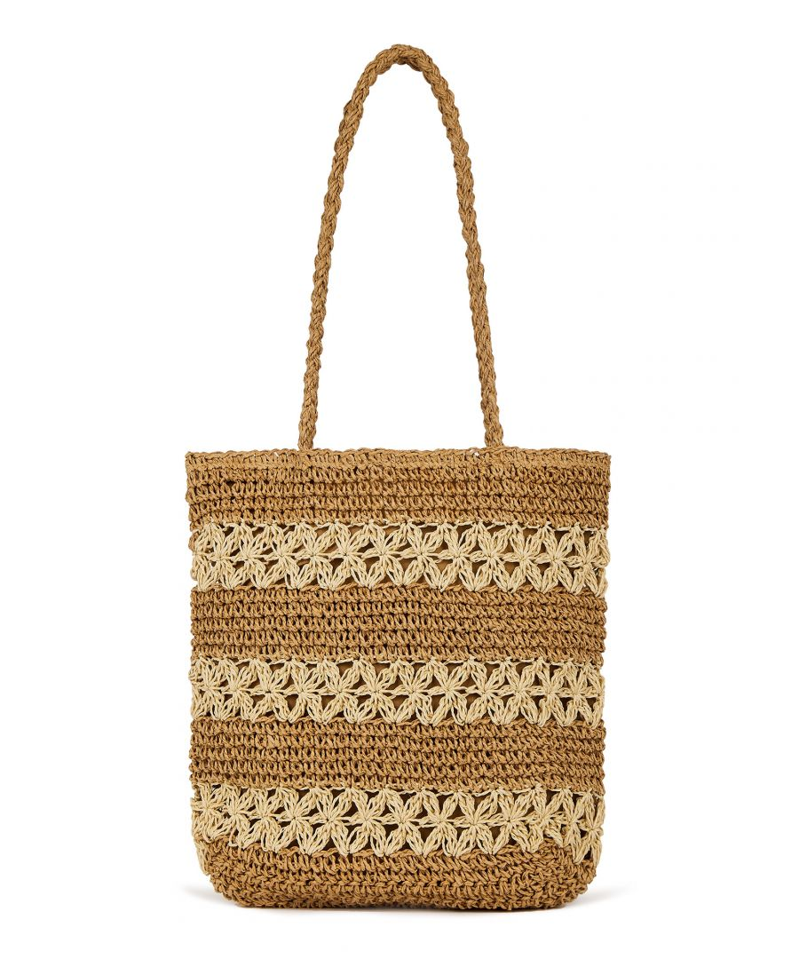 Image for Handmade Straw Striped Tote Bag