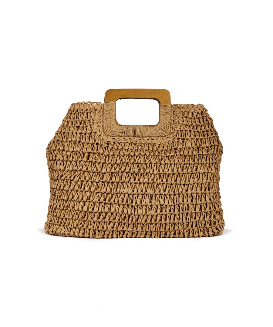 Image for Handmade Straw Weaved Bag With Wooden Ha