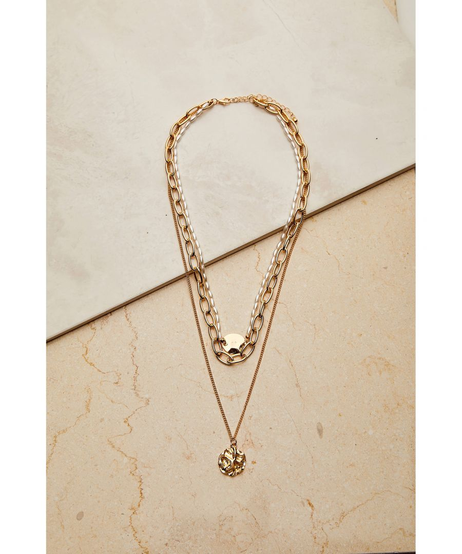 Image for 3 X Chain Necklace With Hammered Coin Pe