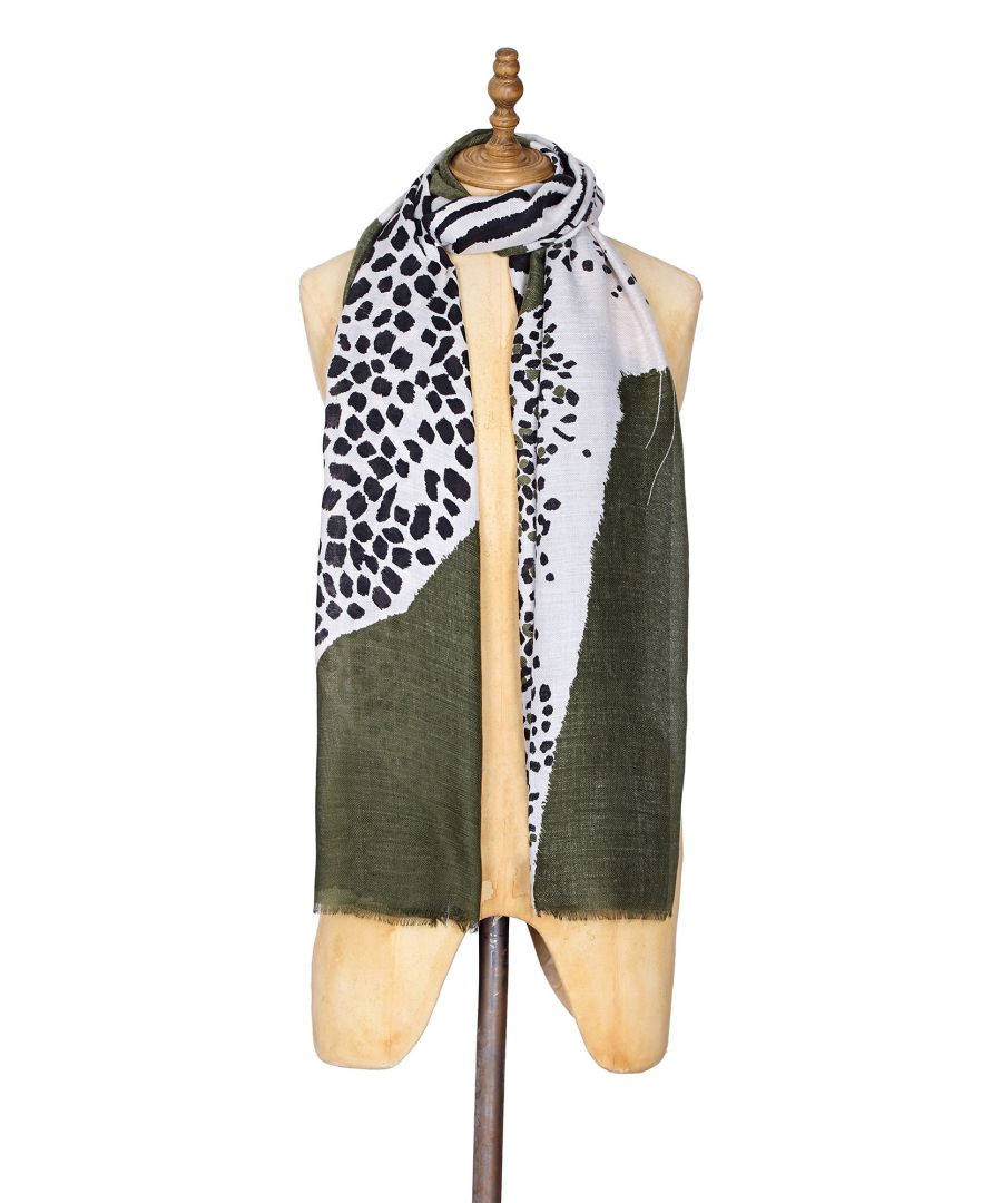 Image for Leopard Print Scarf With Khaki Border