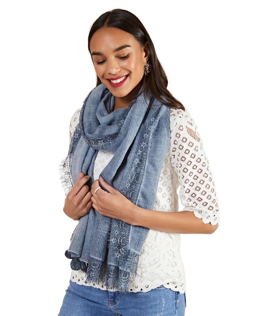 Image for Lace Trim Tassel Scarf