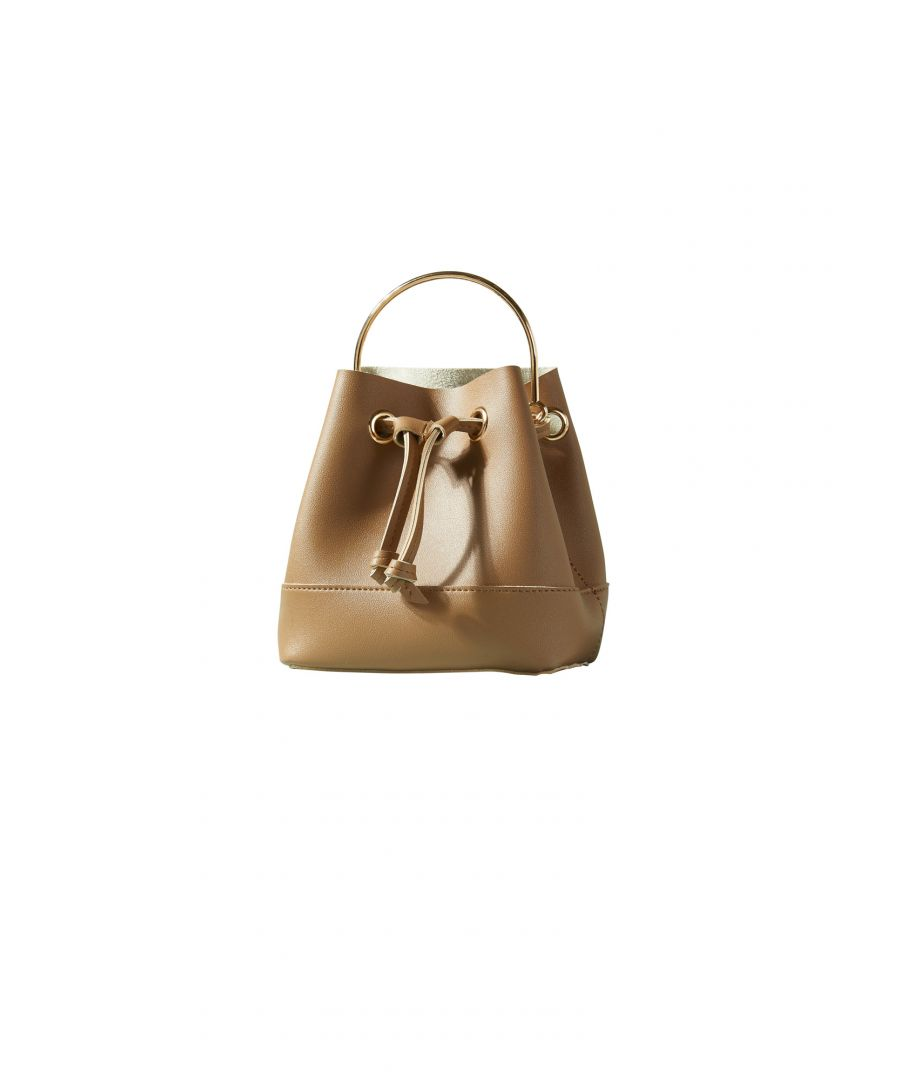 Image for Gold Handle Small Bucket Bag