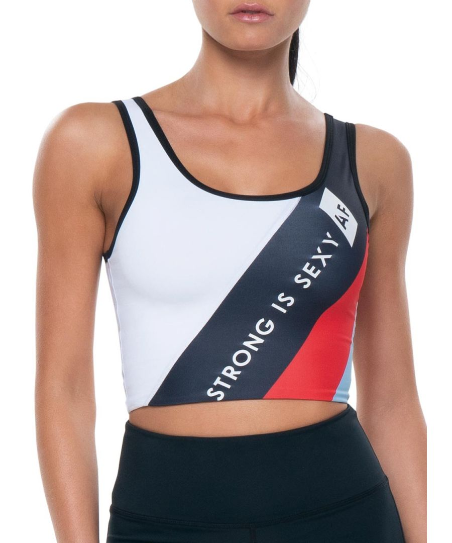 Image for Azura Fit Original Crop Top Blue/Red/White