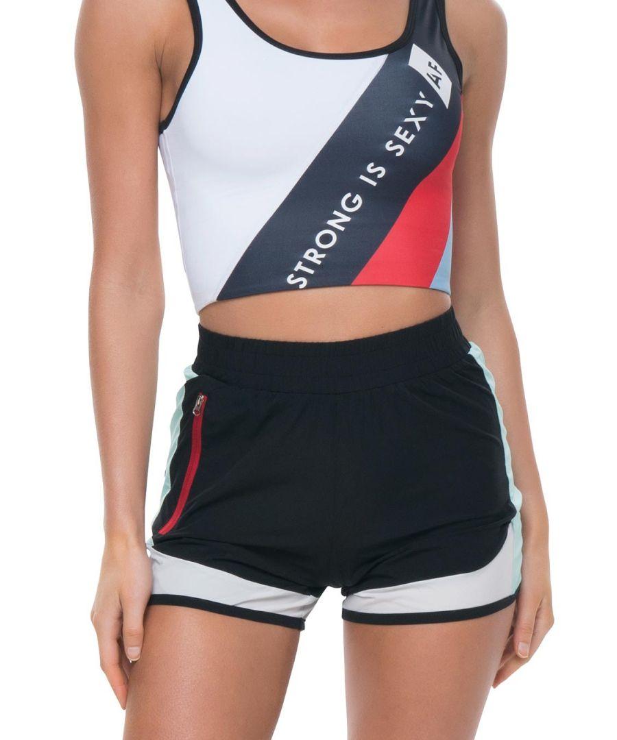 Image for Azura Fit Original Run Shorts Black/Green/Red