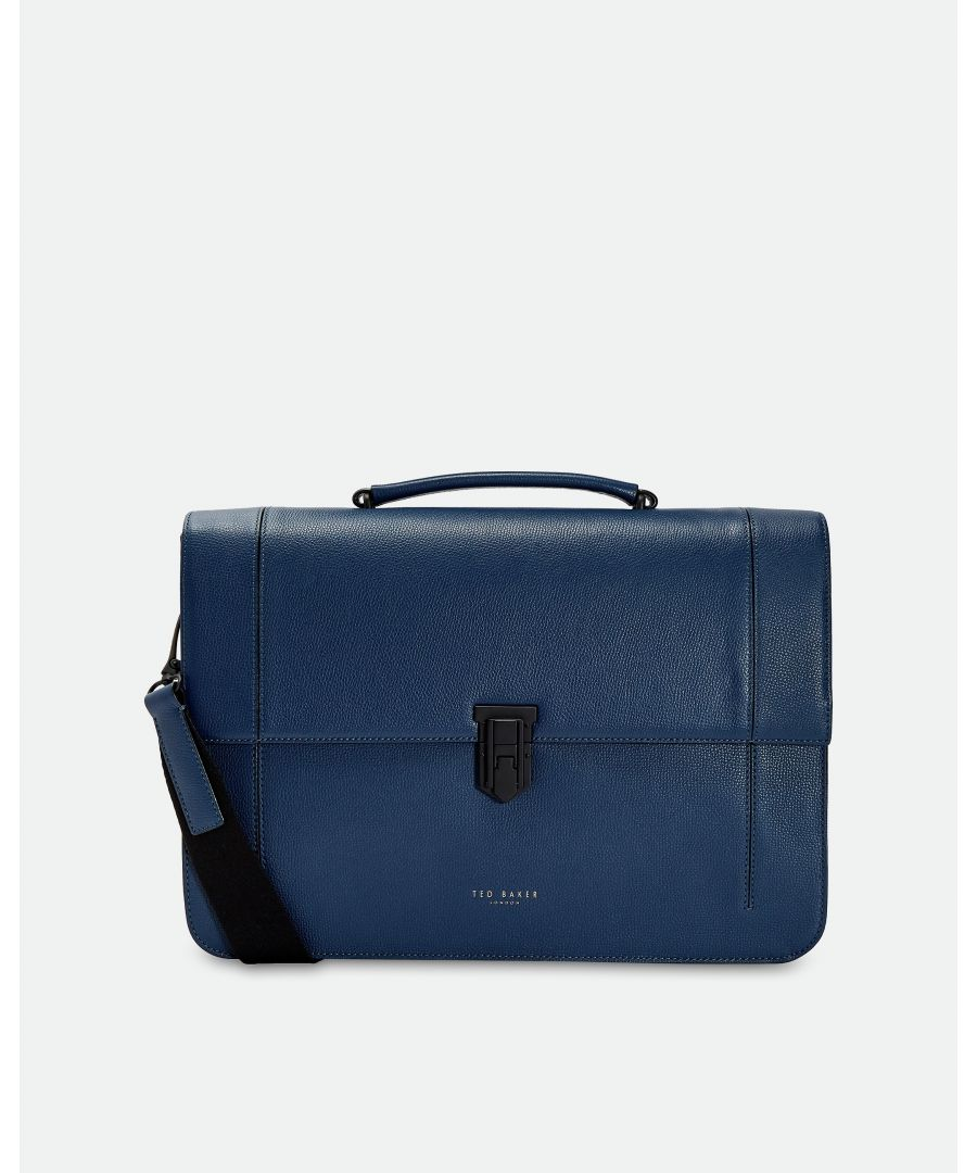 Image for Ted Baker Aggro Padlock Leather Satchel, Blue