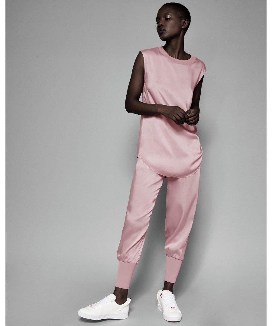 Image for Ted Baker Aibrey Satin Jogger With Knit Trim, Dusky Pink