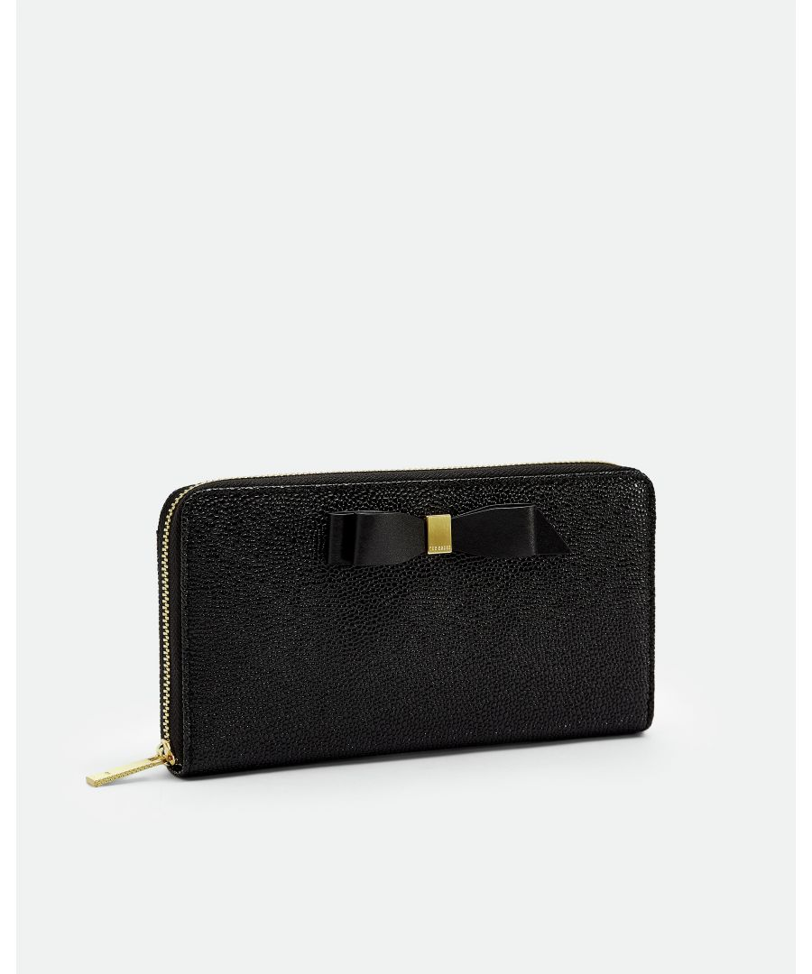 Image for Ted Baker Aine Bow Leather Matinee Purse, Black