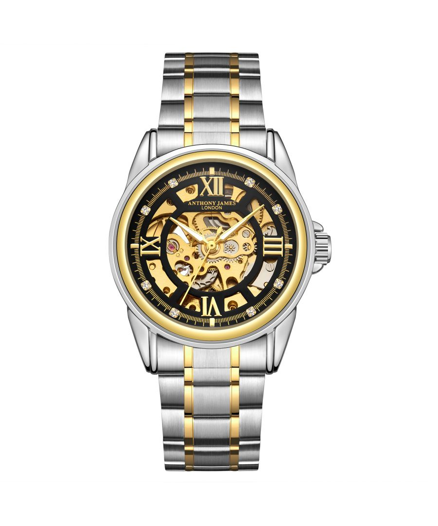 Image for Hand Assembled Anthony James Limited Edition Skeleton Two Tone Gold &  Steel Mens Watch