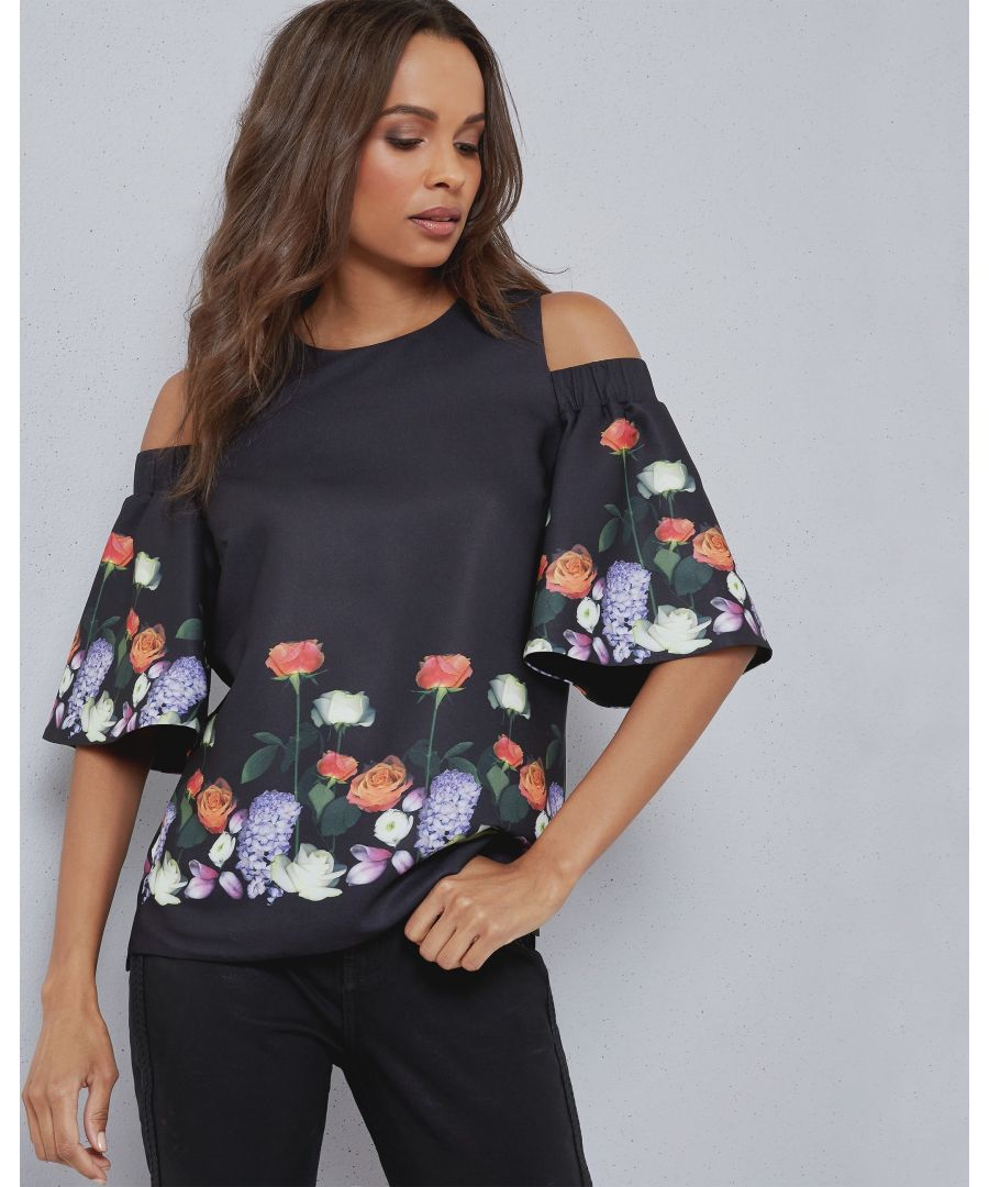 Image for Ted Baker Amarga Kensington Cut Out Shoulder Top, Black
