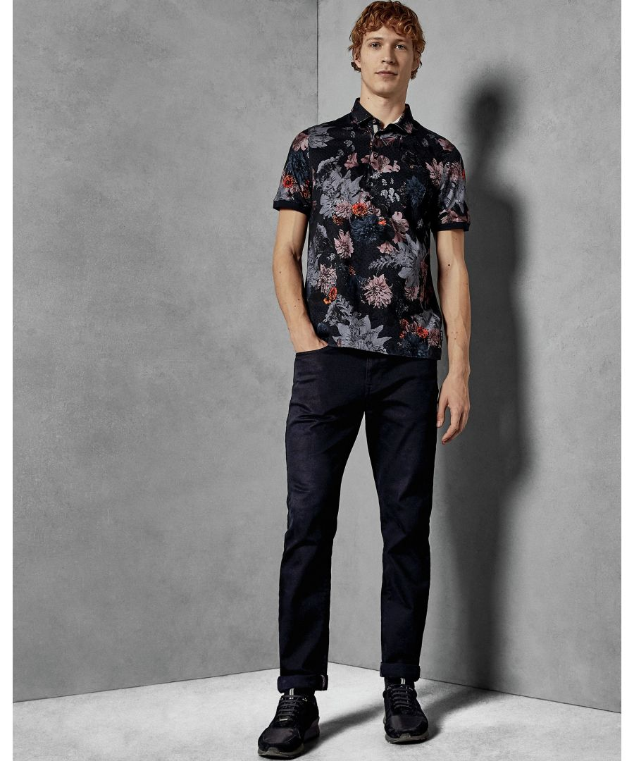 Image for Ted Baker Amir Short-Sleeved  All Over Printed Polo, Navy