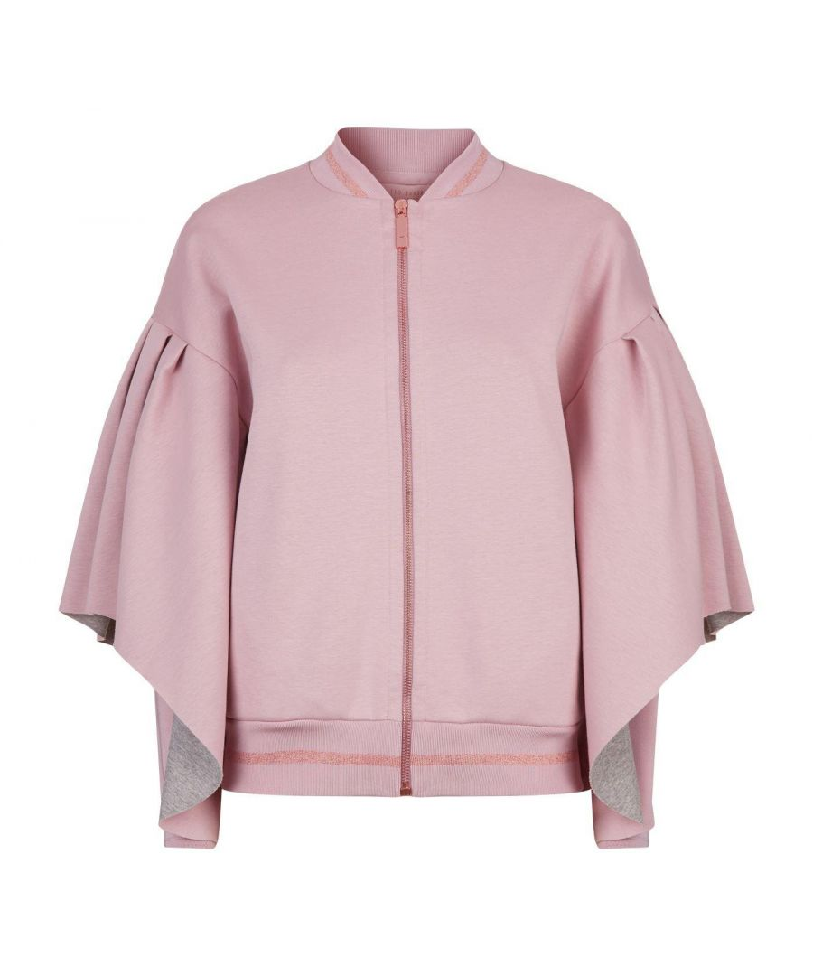 Image for Ted Baker Amithie Full Sleeved Rib Detail Bomber Jacket in Dusky Pink