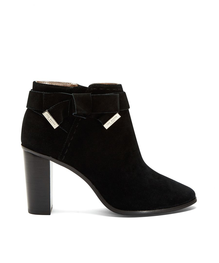 Image for Ted Baker Anaedi Bow Detail Suede Heeled Boot, Black