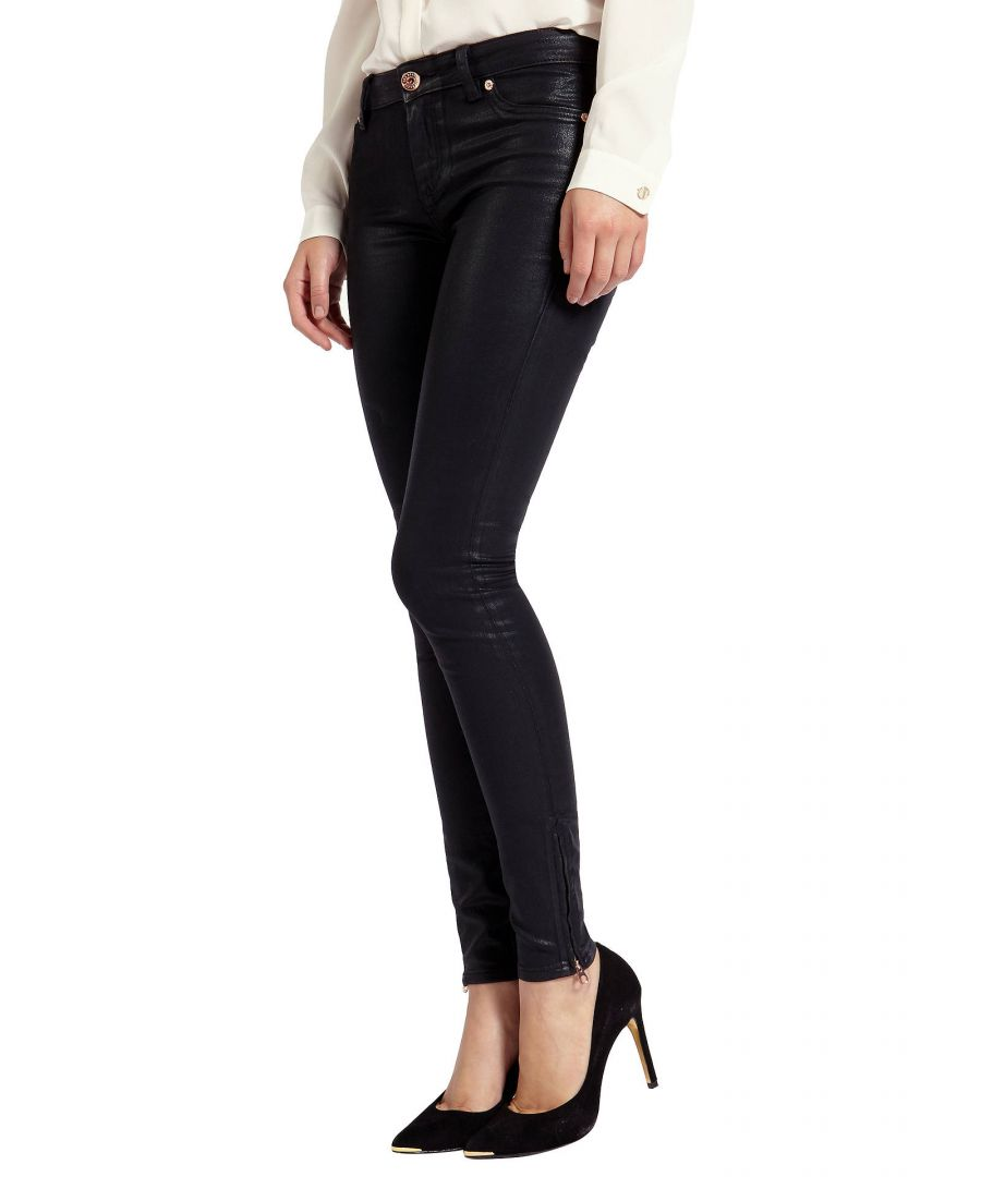 Image for Ted Baker Annna Wax Finish Skinny Jeans, Black