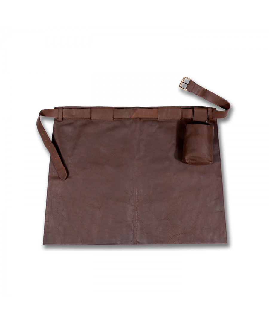 Image for WOODLAND LEATHER UNISEX  BROWN WAXY LEATHER APRON, FRONT POUCH POCKET, HALF LENGTH WITH ADJUSTABLE TIE WAIST