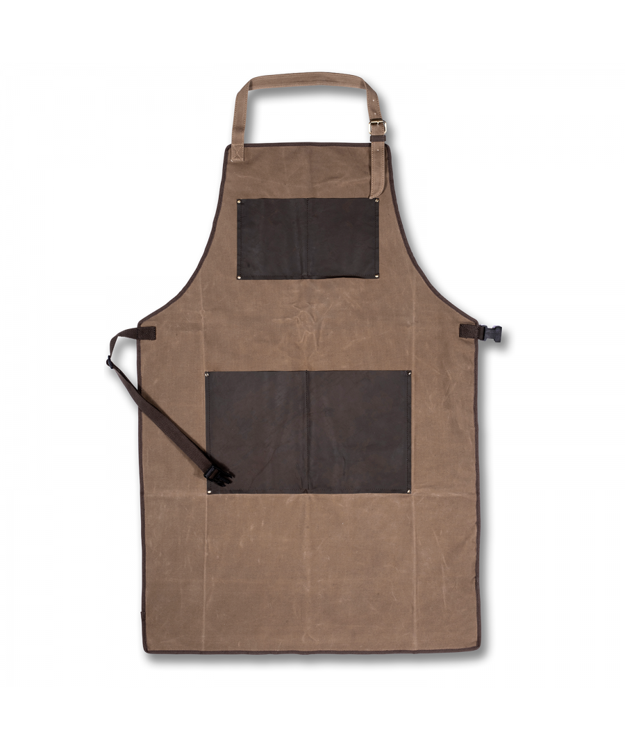 Image for WOODLAND LEATHER UNISEX CANVASS AND BROWN WAXY LEATHER APRON, FULL LENGTH WITH ADJUSTABLE TIE WAIST