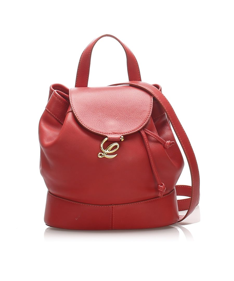Image for Vintage Loewe Drawstring Leather Backpack Red