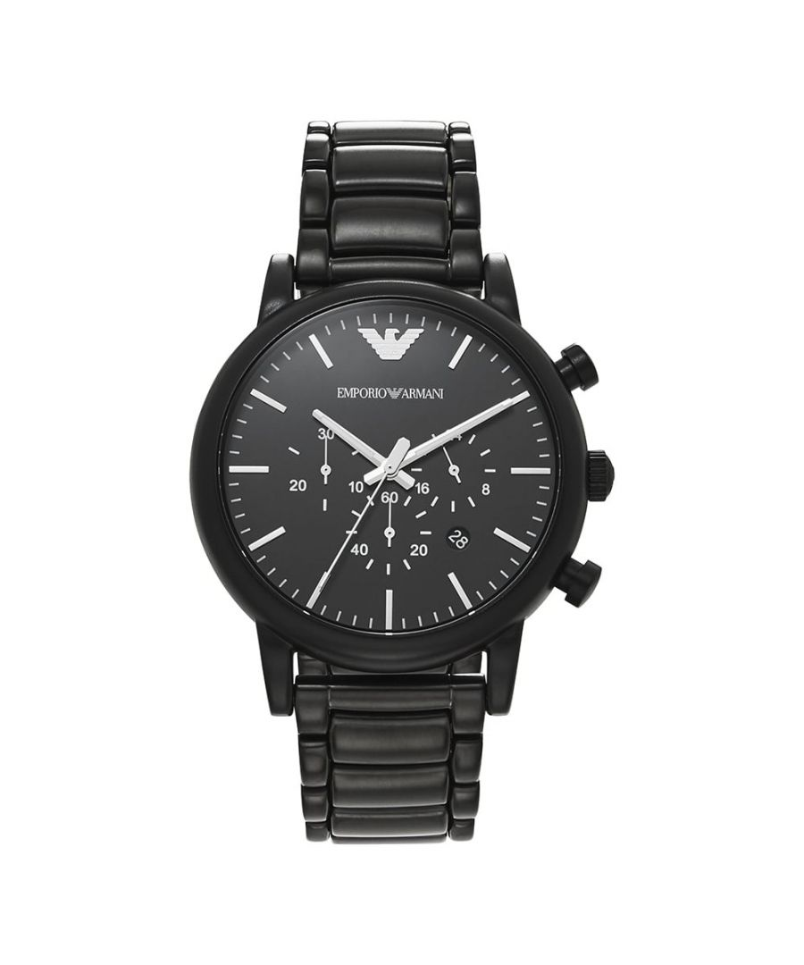 Image for Emporio Armani Men's Chronograph Black Stainless Steel Watch