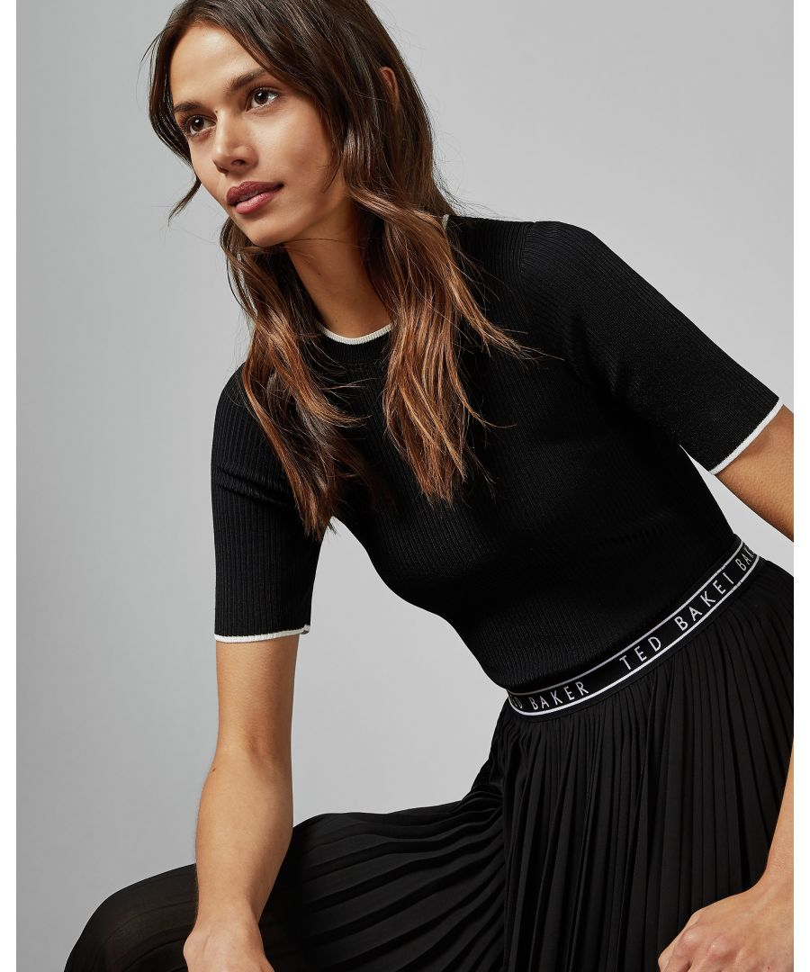 Image for Ted Baker Arnial Tipped Detail Short-Sleeved Knit Top, Black