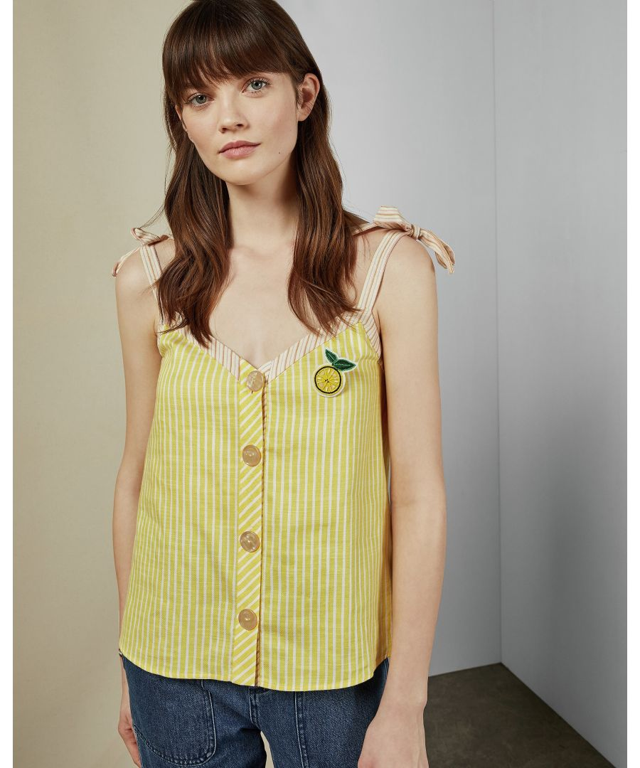 Image for Ted Baker Asinara Cbn Linen Stripe Top, Yellow