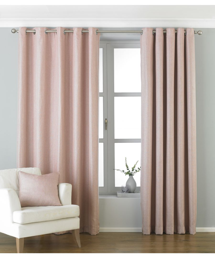 Image for Atlantic Twill Woven Eyelet Curtains in Blush