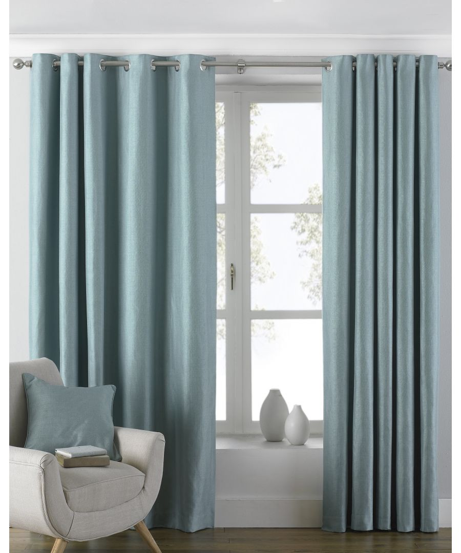 Image for Atlantic Twill Woven Eyelet Curtains in Duck Egg Blue