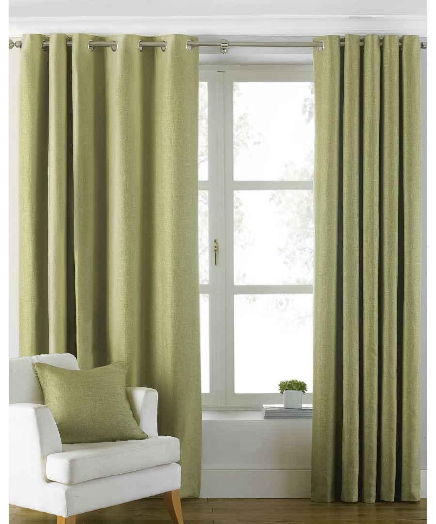 Image for Atlantic Twill Woven Eyelet Curtains in Green