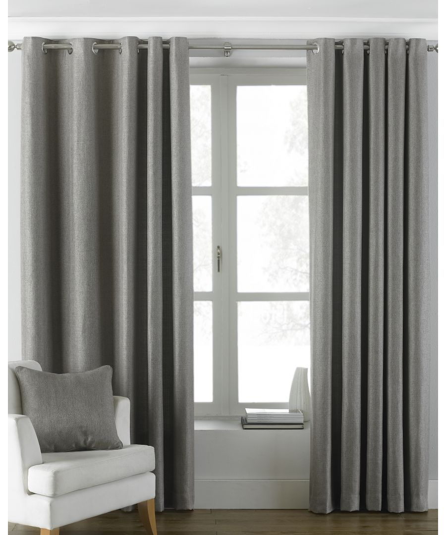 Image for Atlantic Twill Woven Eyelet Curtains in Grey