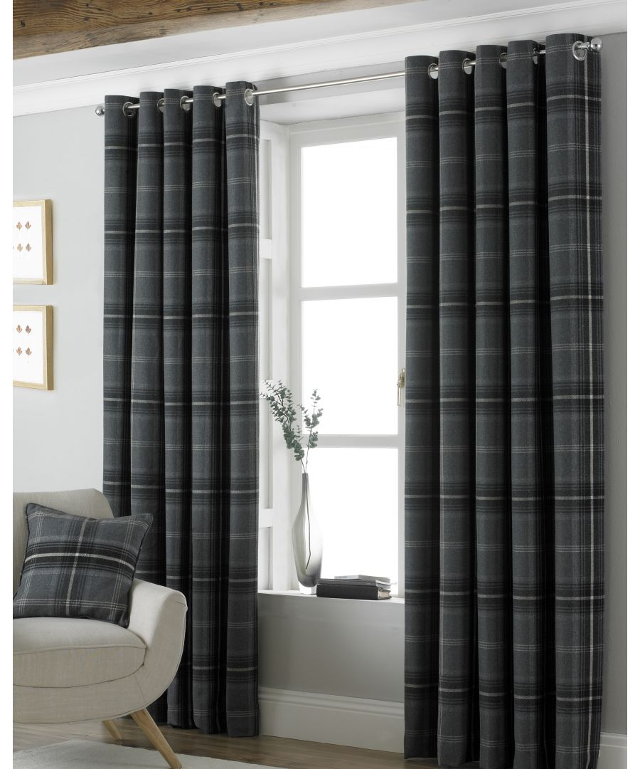 Image for Aviemore Wool Effect Eyelet Curtains in Grey