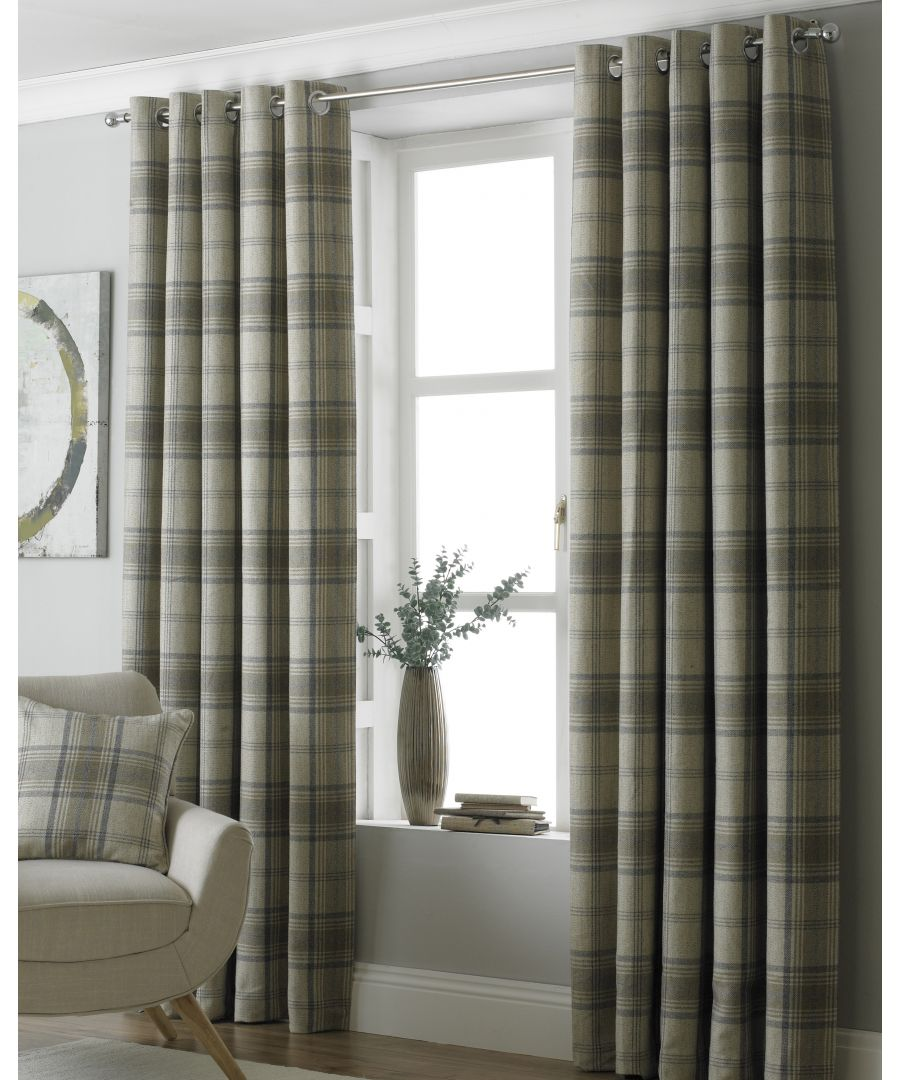 Image for Aviemore Wool Effect Eyelet Curtains in Natural