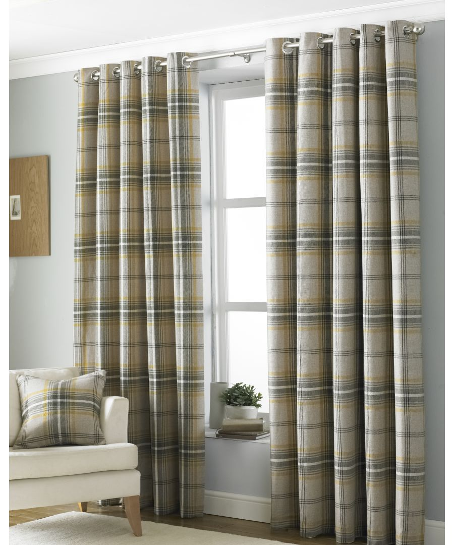 Image for Aviemore Wool Effect Eyelet Curtains in Ochre